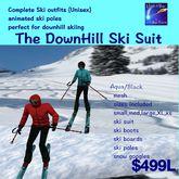 Complete Ski Suit Animated Aqua/black Unisex (Crate)