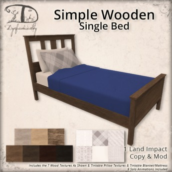 [DDD] Simple Wooden Single Bed - 1 Land Impact