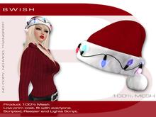 BWish - Santa Hat With Lights Mesh