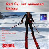 Red Ski Boots ,Poles,Skiis animated (box)
