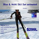 Blue ski set animated