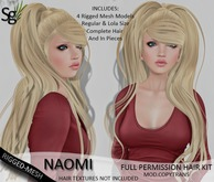 !Saltgrass! Naomi Full Permission Rigged-Mesh Hair