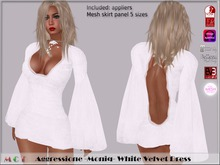 *Aggressione* -Moniq- White Velvet Dress appliers Omega,Slink,Maitreya,Belleza,EVE,TMP