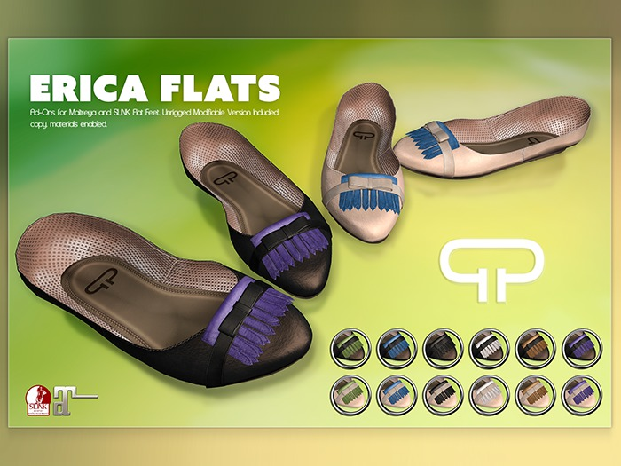 Pure Poison - Erica Flat Sandals for Slink and Maitreya Flat Feet with unrigged modify version included