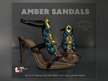 Pure Poison - Amber Sandals - Ad - ons for Medium Maitreya and SLINK Feet