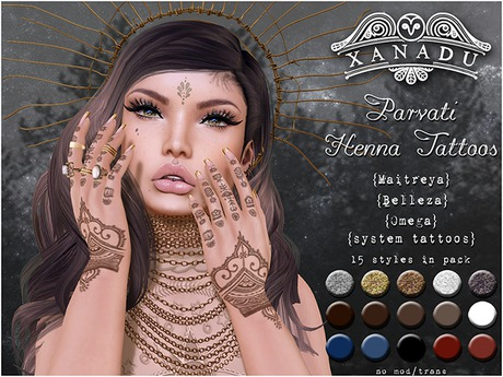 {X} Xanadu - Parvati Henna Hands appliers 17 colours in one pack