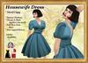 *LBD* 1950s Housewife V Neck Dress - Blue
