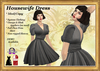 *LBD* 1950s Housewife V Neck Dress - Charcoal