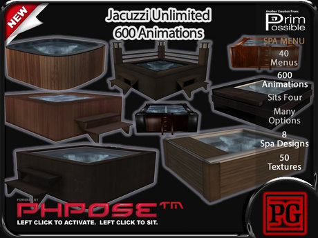 1 Prim Jacuzzi Unlimited PG 600 Animations