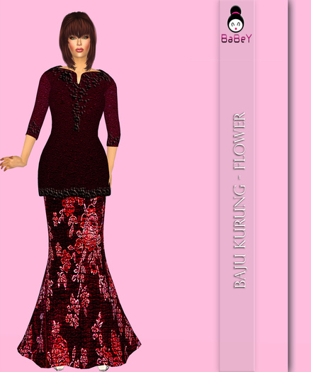 BABEY | FLOWER KURUNG - RED [GROUP GIFT]