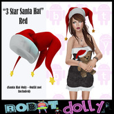 Robot Dolly - 3 Star Santa Hat - Red