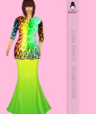 {B}ANIMAL PRINT KURUNG - YELLOWGREEN