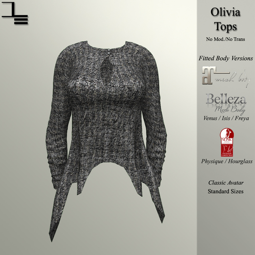 DE Designs - Olivia Top - Grey Sweater