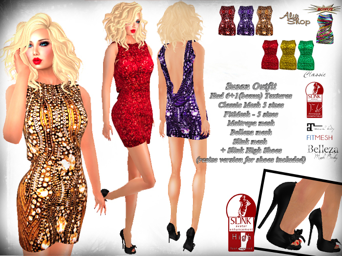 *Aly's Shop* Susan Outfit Fitmesh,Maitreya,Belleza,Slink