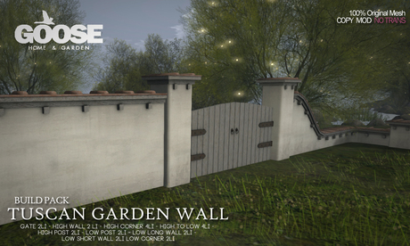 Second Life Marketplace Goose Tuscan Garden Wall Build Pack