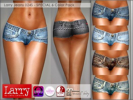 LARRY JEANS - 024S V-Cut Shorts - 6 Color Pack