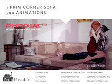 PrimPossible 1 Prim Corner Sofa Mesh 500 Animations PG