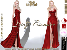 **Dirty Princess** Beautiful Society Princess Mesh Gown Ruby For TMP, Maitreya & Slink Physique/Hourglass