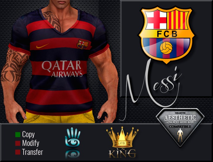 Second Life Marketplace King 013 Shirt Messi Barcelona Aesthetic