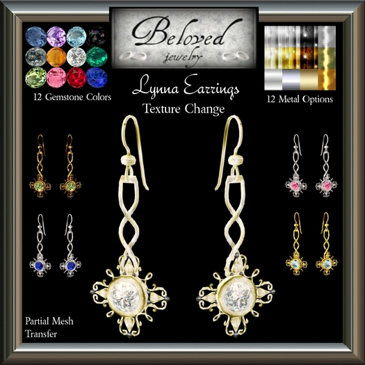 Beloved Jewelry : Lynna Earrings (Texture Change) Choice of Silver, Platinum, Gold, 12 Gems, Amethyst, Ruby