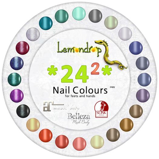 Lemondrop 24 Nail Colours 2  Slink, Belleza, Maitreya