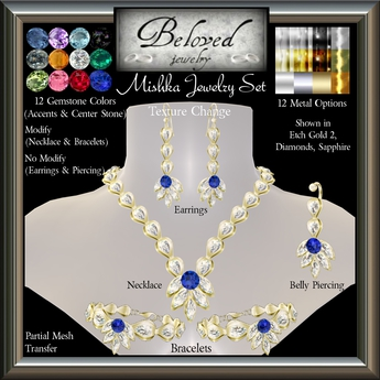 Beloved Jewelry : Mishka Set (Texture Change) 4 Pieces : Earrings, Necklace, Bracelets, Belly Piercing, Amethyst