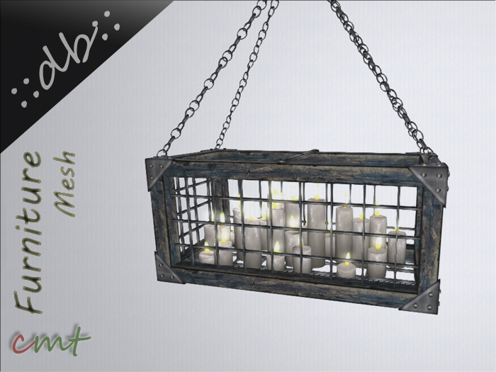 ::db:: Decorative hanging Cage with Candles blue shabby chic