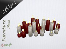 ::db:: Romantic Cluster of 29 decorative Candles red white