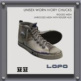 LoPo Unisex Worn Ivory Chucks