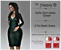 Sofia Slim dress  Green - Fit Mesh - (tm) Freeky