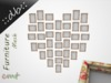 ::db:: Heart Gallery with 36 Photo Frames Rose Frame Decor