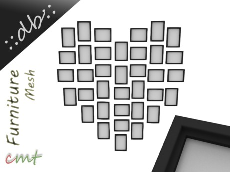 ::db:: Heart Gallery with 36 Photo Frames black Frame Decor