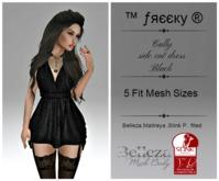 Cally - side cut dress - BLACK - Fit Mesh -Belleza,Maitreya,Slink P. (tm) Freeky