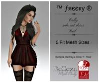 Cally - side cut dress - RED- Fit Mesh -Belleza,Maitreya,Slink (tm) Freeky