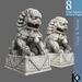 3D / Chinese Lion Guards Statue / 8 land impact