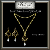 Beloved Jewelry : Swirl Pendant Jewelry Set Yellow Gold (2 Piece Jewelry Set with Necklace and Dangle Earrings)