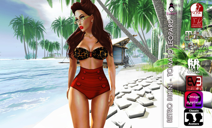 BABEY | RETRO BIKINI-TOMATO ORANGE LEOPARD-GROUP GIFT --OMEGA APPLIER-LOLAS-SLINK-MAITREYA-BELLEZA-WOWMEH-EVE