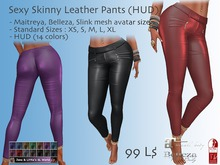 Sexy Skinny Leather Pants (HUD) for Maitreya, Belezza, Slink and many more avatars
