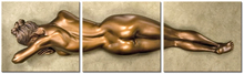 THREE PANEL BRONZE NUDE
