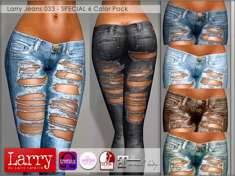 LARRY JEANS - 033 V-Cut Ripped - 6 Color Pack