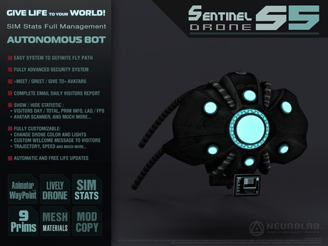 Sentinel Drone S5 (Security/Greeter/Visitor Tracking System) [NeurolaB Inc.] Cyber Cyberpunk Sci-fi