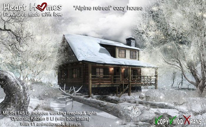 "Heart Homes ""Alpine Retreat"" Cozy Winter House with animated Kitchen (Copy/ Mod)"