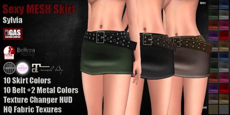 GAS [Sexy MESH Skirt Sylvia - 10x10x2 Colors w/HUD]
