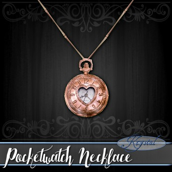 :::Krystal::: Pocketwatch - Necklace - Rose Gold