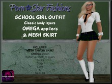 Porn*Star Fashions FERGUSON School Girl Outfit, with Omega appliers & Mesh Skirt