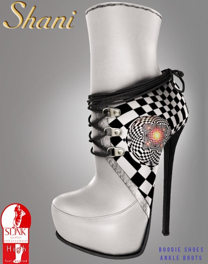 -Shani- Boogie Shoes Checkerboard Ankle Boots