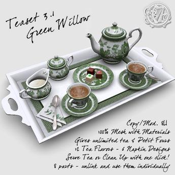 R(S)W Teaset 3.1 - Green Willow pattern