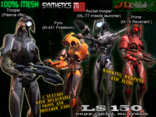 [Synthetics] 4 Full mesh avatars w/working weapons and sling