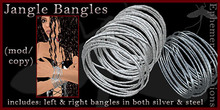 Mayfly - Jangle Bangles (left/right in both silver and steel)