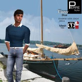 Pierre Styles Sweater TONY BLUE: Classic & Mesh: SLINK Male physique
